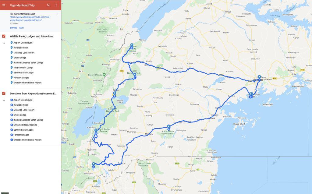 Two Week Uganda Itinerary Self Drive Map.