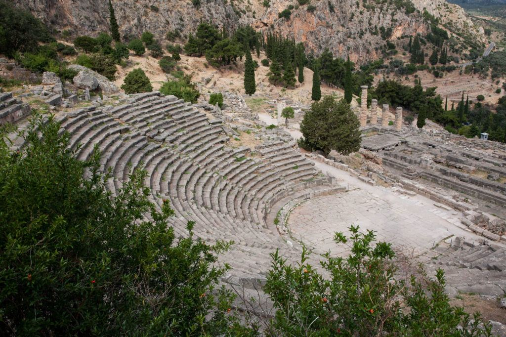 The Amphitheater of Delphi towers over the site.