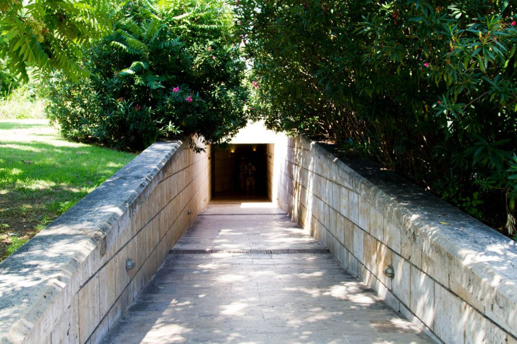 The entrance to Phillip IIs tumulus and museum in Vergina.