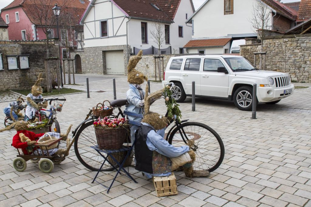 Bunnies are another symbol for Easter, and this town not only decorated its water well, but filled the village with bunny scenes as well.