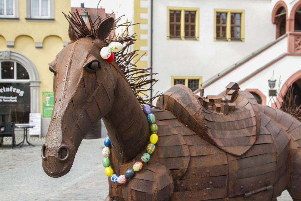 Iron horse statue decorated with Easter Eggs, Germany.