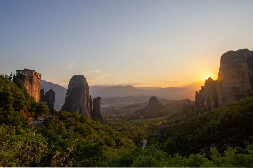 UNESCO world heritage site, a monastery is perched on top of huge rock formations in Meteora.