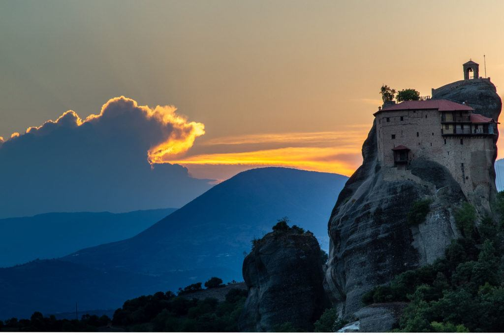 HDR of a monastery at sunset in Meteora.