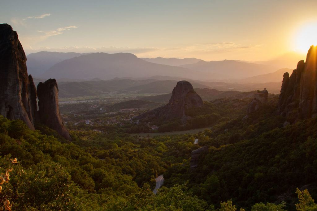 Meteora valley sunset.