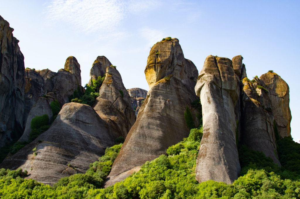 The gigantic rock pillar formations near Kastraki, Greece.