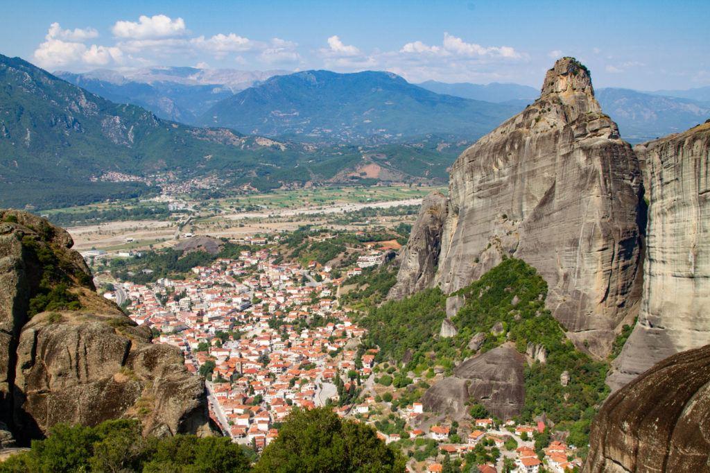 Rock pillars surround the town of Kastraki, Greece.