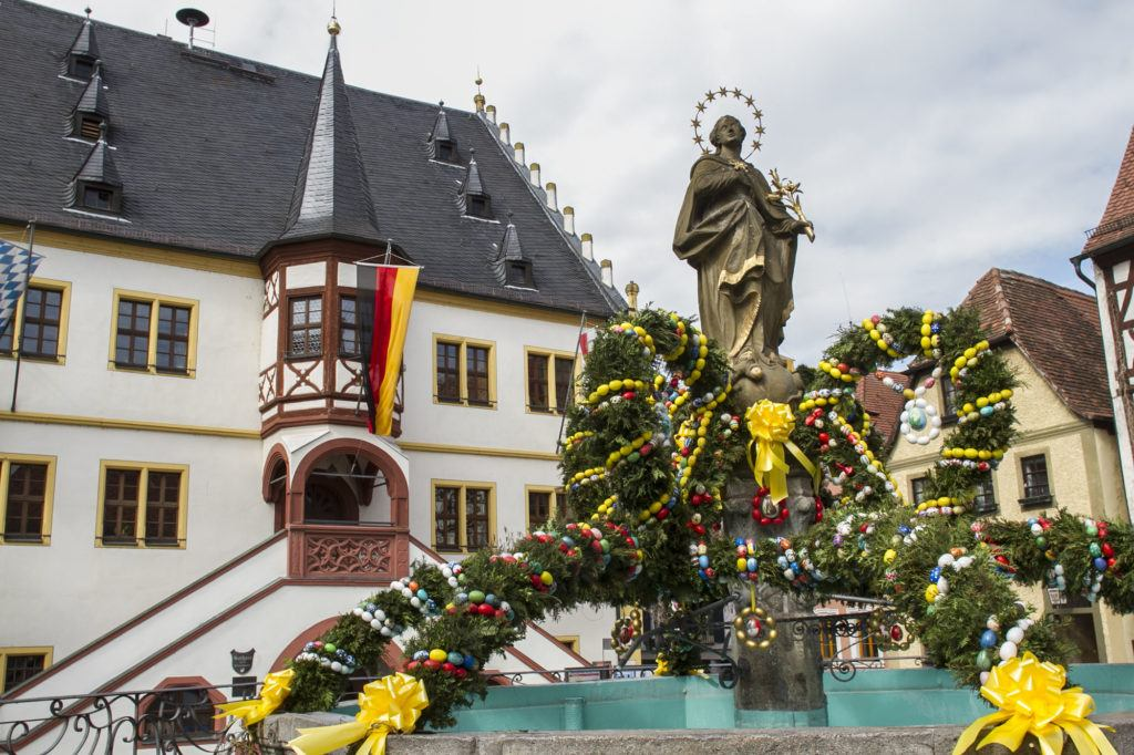 Decorated Town Hall Fountain in Franconia, Easter Eggs and Pine boughs.