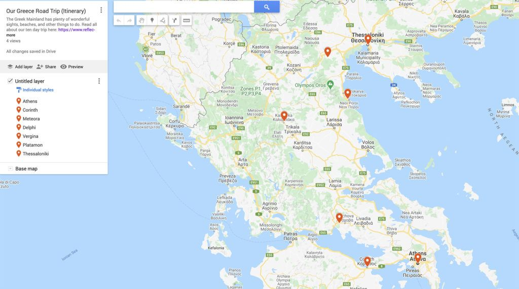 Our Greece Road Trip Map and Itinerary.