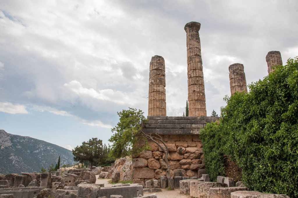 Part of the world heritage site, these ruins of Delphi show part of the Temple of Apollo.