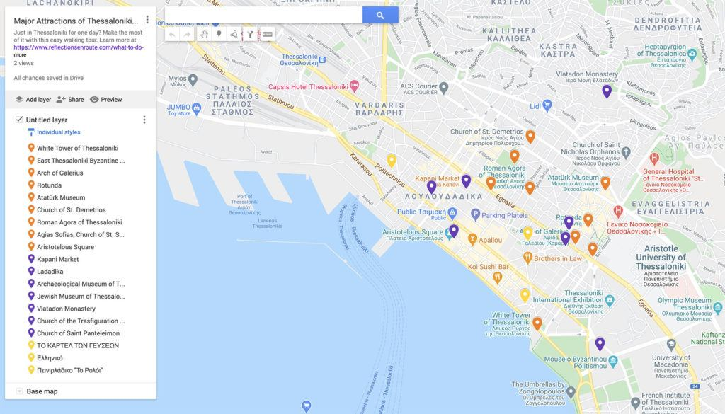 Walking Map of Thessaloniki Attractions.