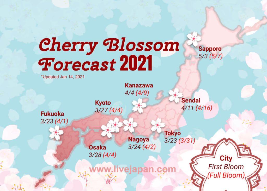 Live Japan's Cherry Blossom Forecast Map 2021