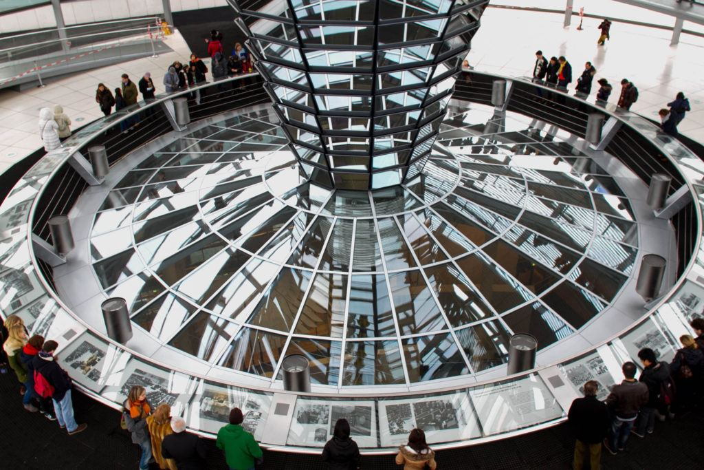The new dome of the Bundestag in the old Reichstag building in Berlin, one of the best cities in Germany.
