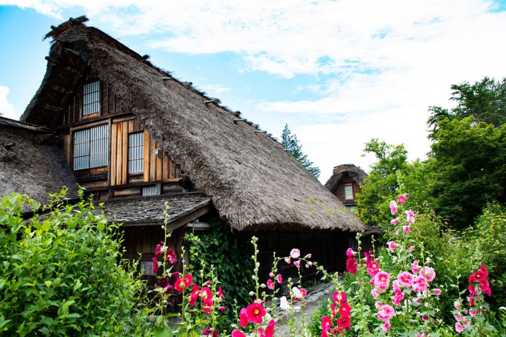 Summer in Shirakawa-go is full of green pastures and vibrant flowers.