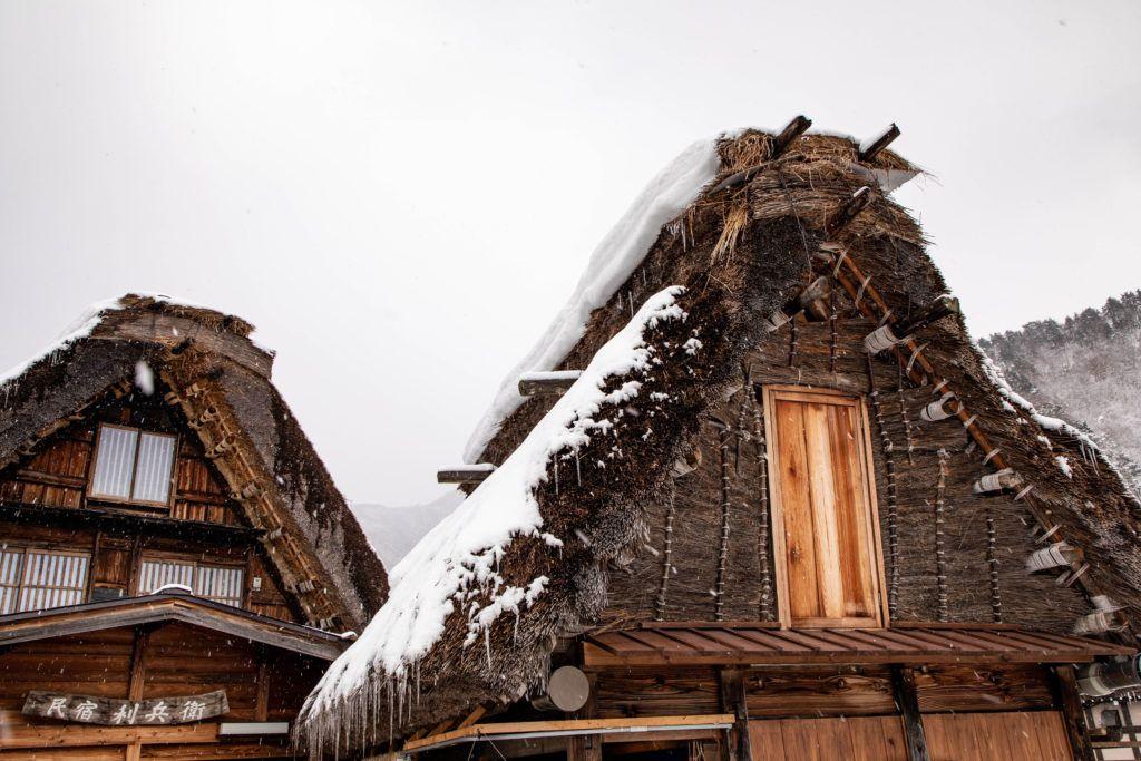 Snow piled on the gassho zukuri house.