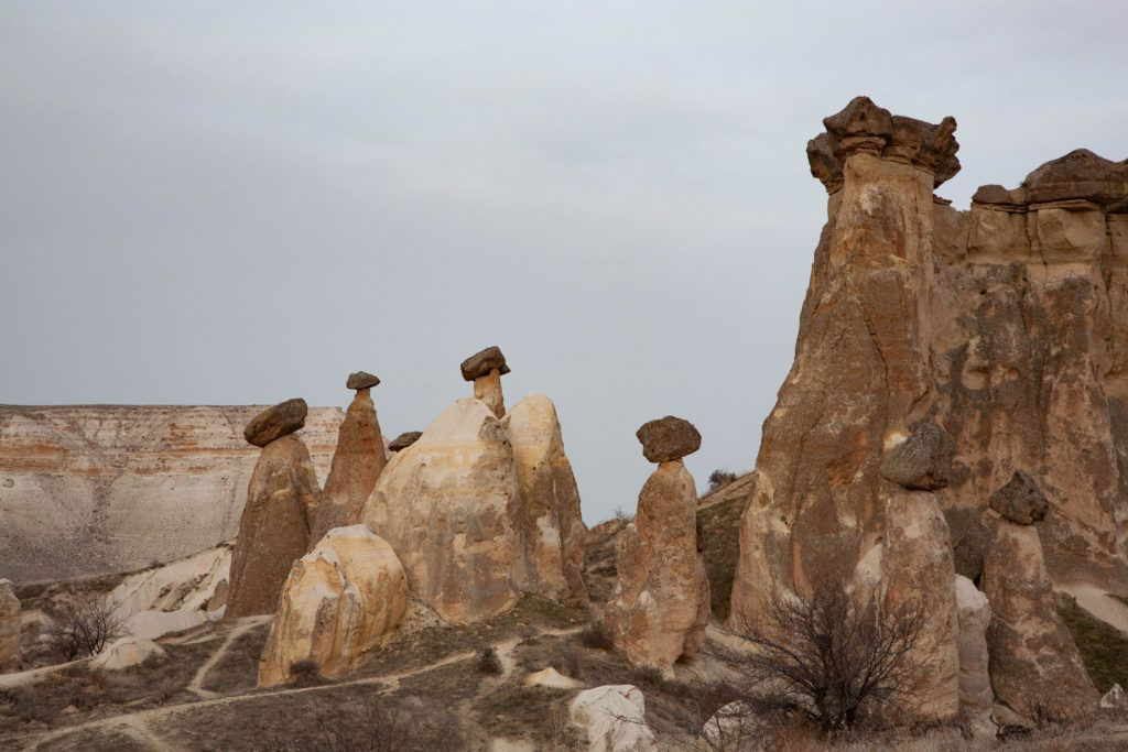 A cluster of fairy chimneys near Urgup, which form when rock pillars erode unevenly leaving a capstone on top.