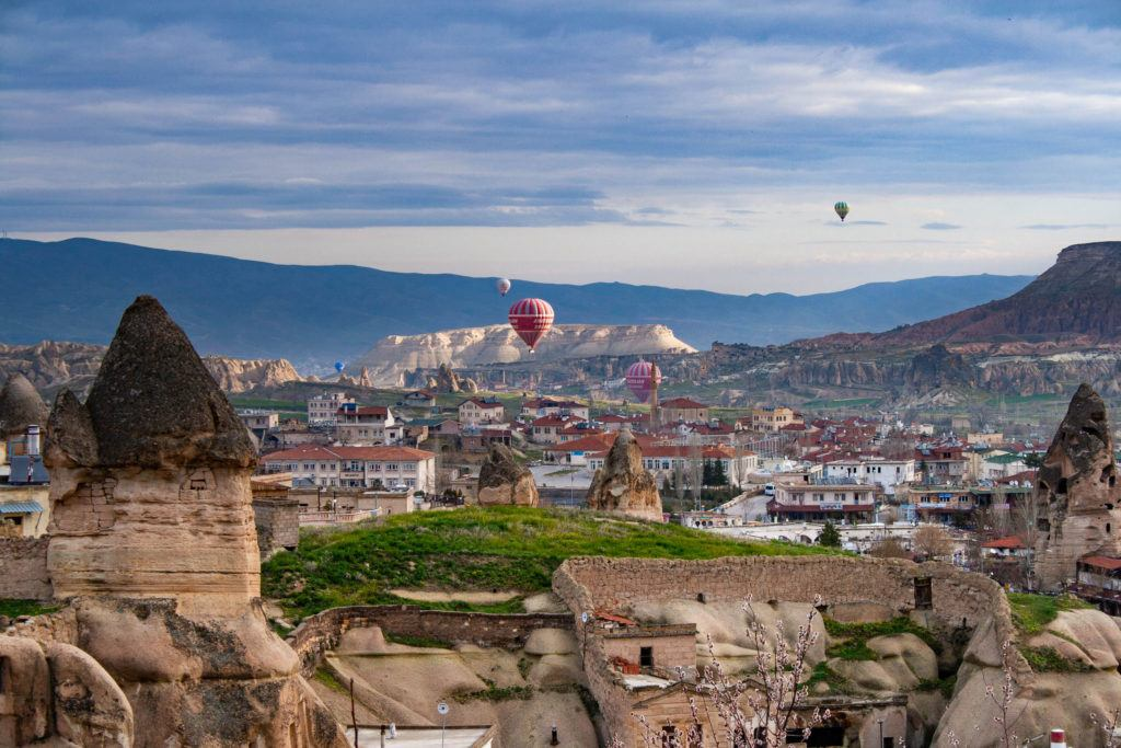 Hot air balloons, like these near Goreme, are a popular way to tour Cappadocia.
