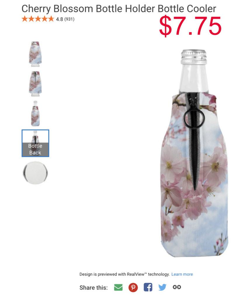 Cherry Blossom Bottle Holder Souvenir.