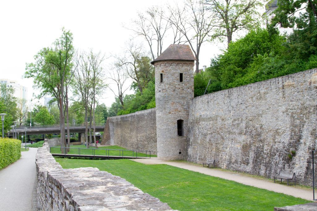 The stone walls of Schweinfurt look good covered in spring green leaves.
