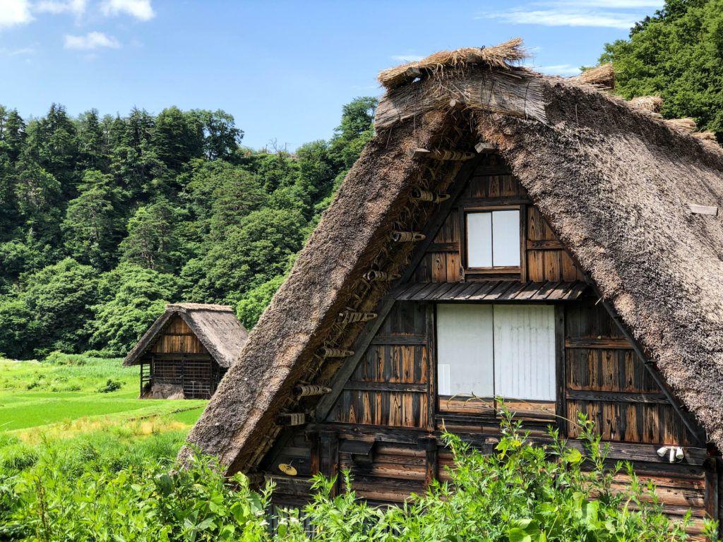 Gassho-zukuri houses in the world heritage site of Shirakawago, Japan.