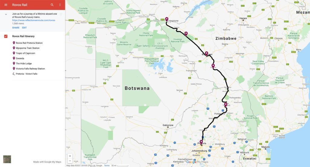 Image of Rovos Rail interactive map.
