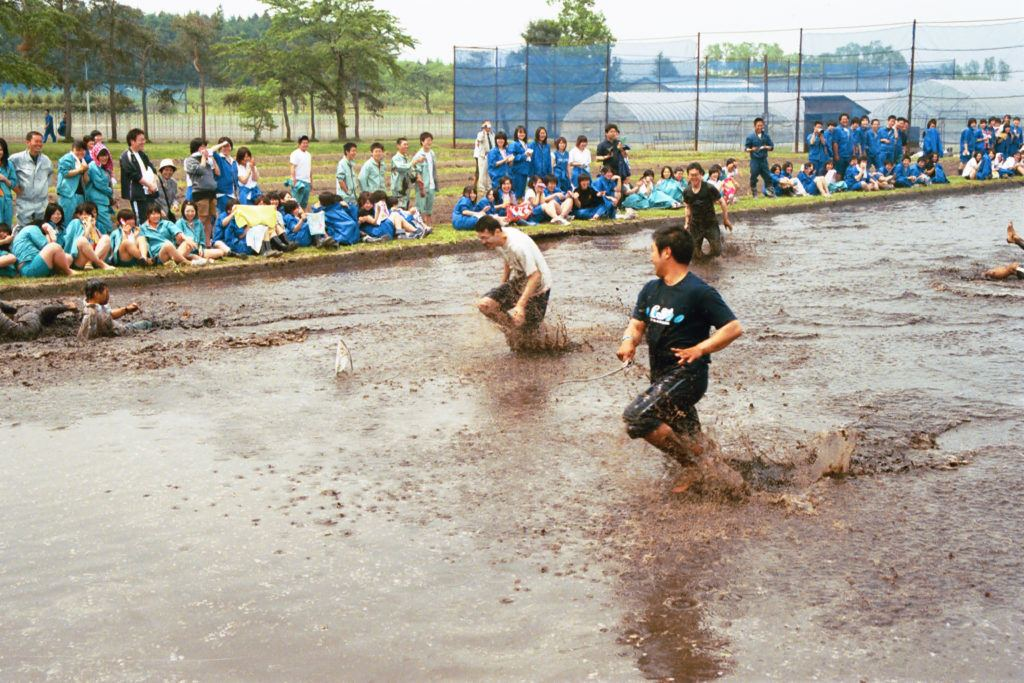School boys racing in the flooded rice paddy.