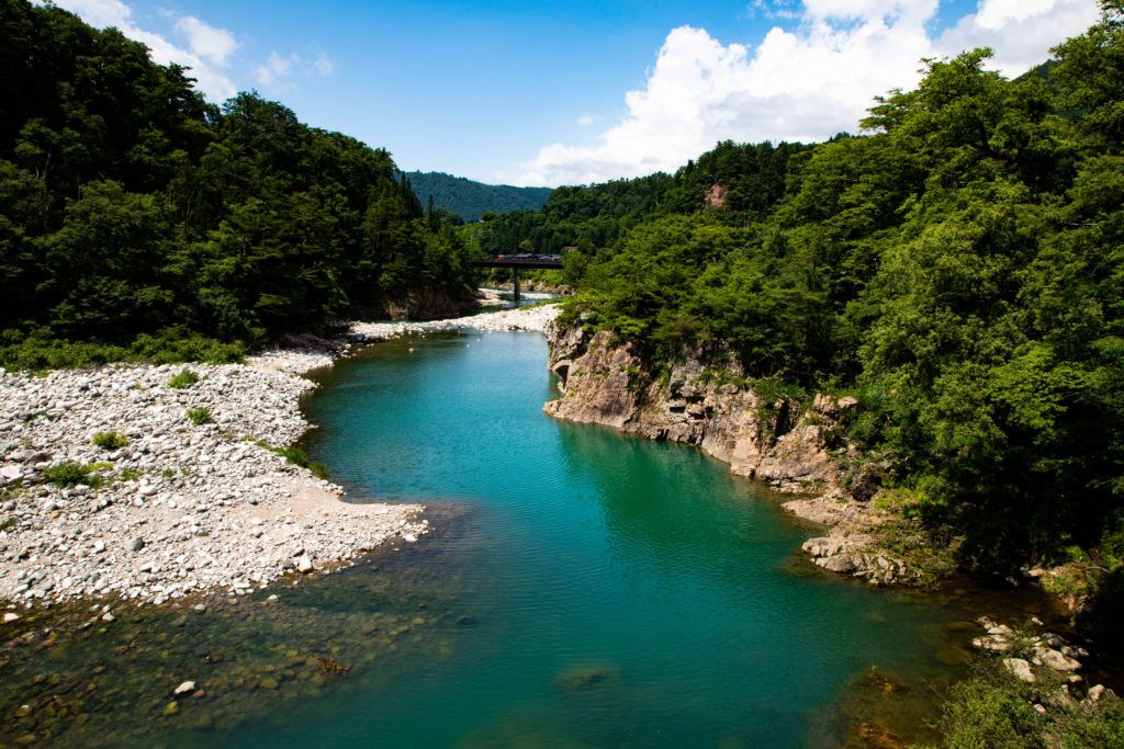 Turquoise water of the Shiro River in summer, Japan.