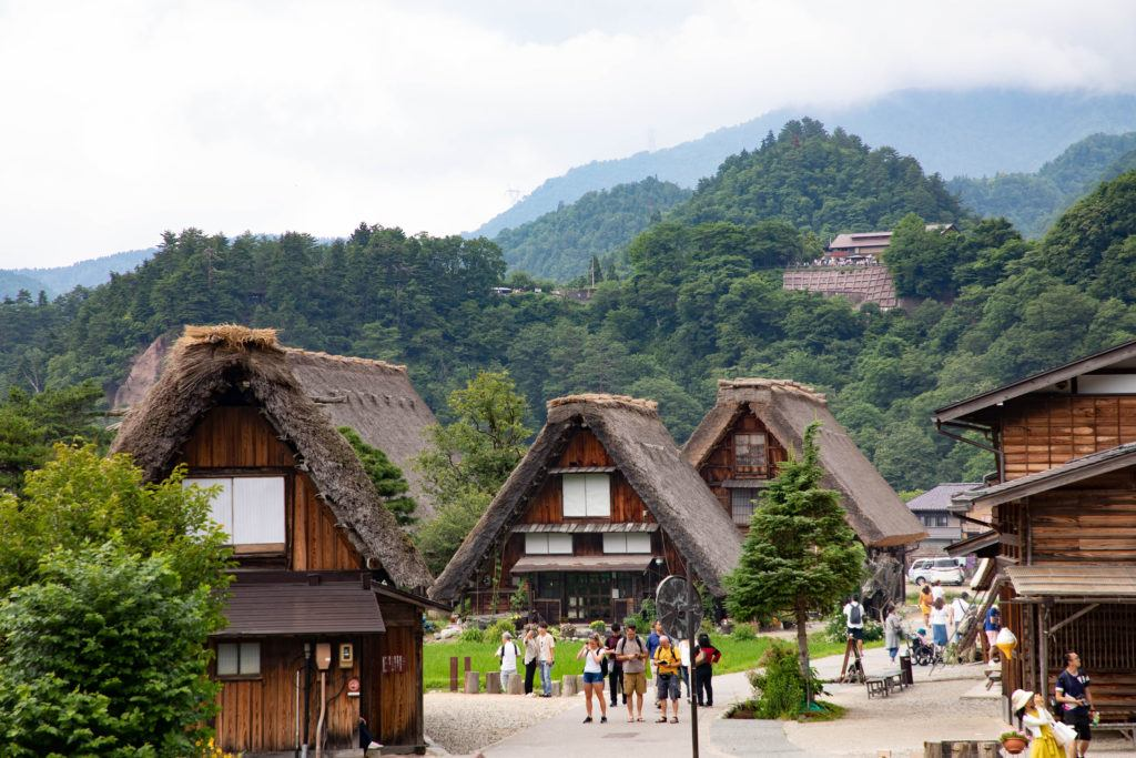 Summer bring many tourists to Shirakawa-go.