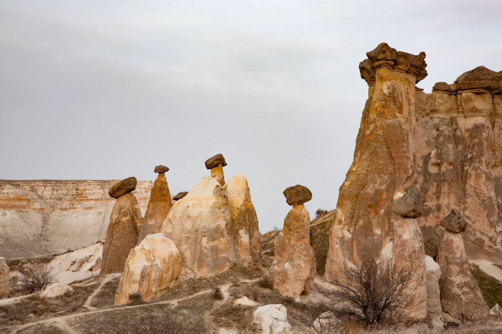 A cluster of fairy chimneys near Urgup, which form when rock pillars erode unevenly leaving a layer on top like a capstone.