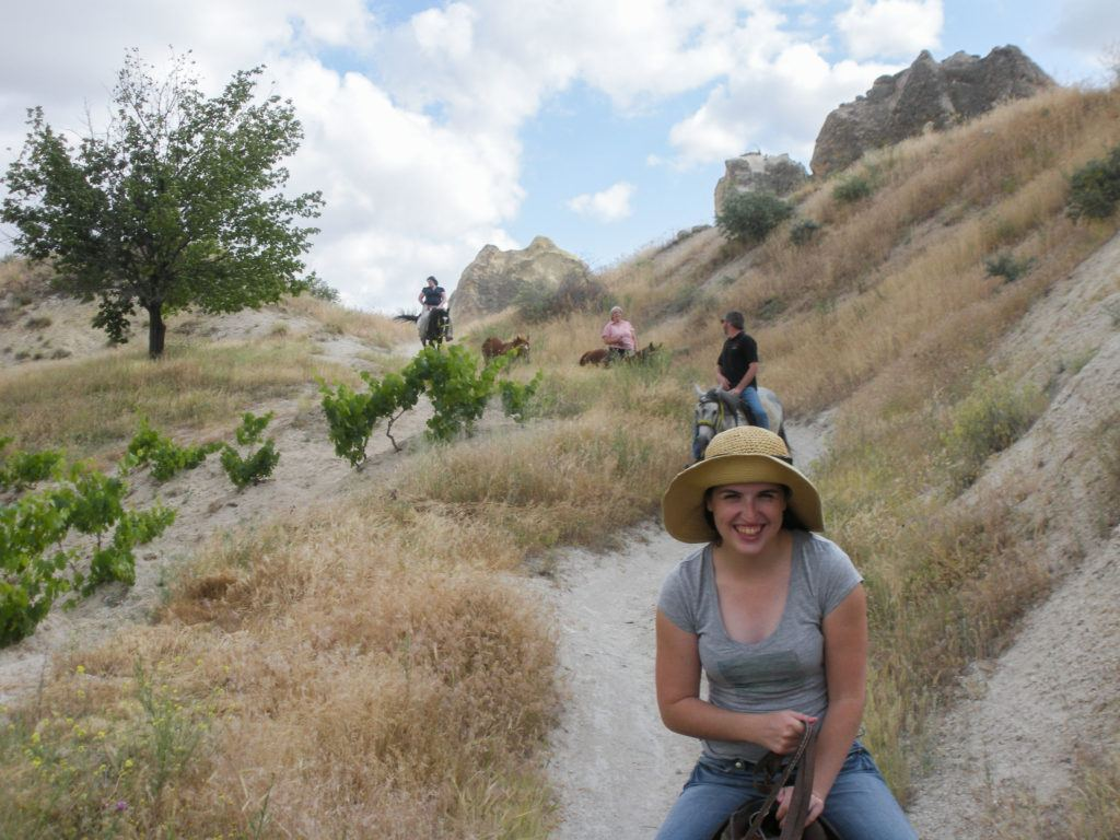 The Vail family enjoying a horseback ride in the hills in Cappadocia, which is in the Anatolia Region, Turkey.