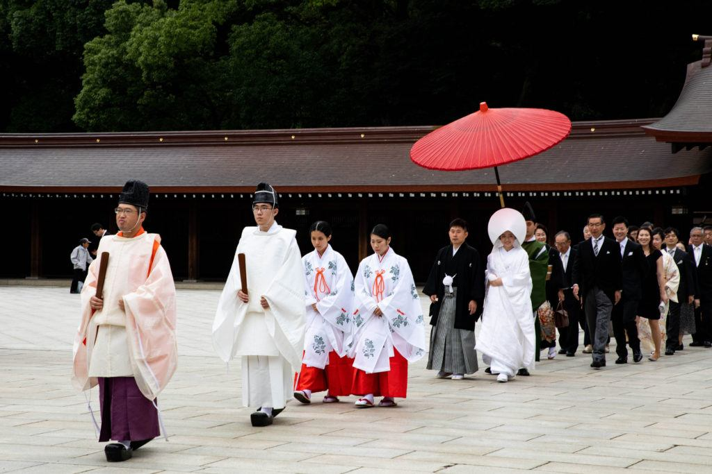 Wedding procession at the Meiji Shrine in Tokyo.