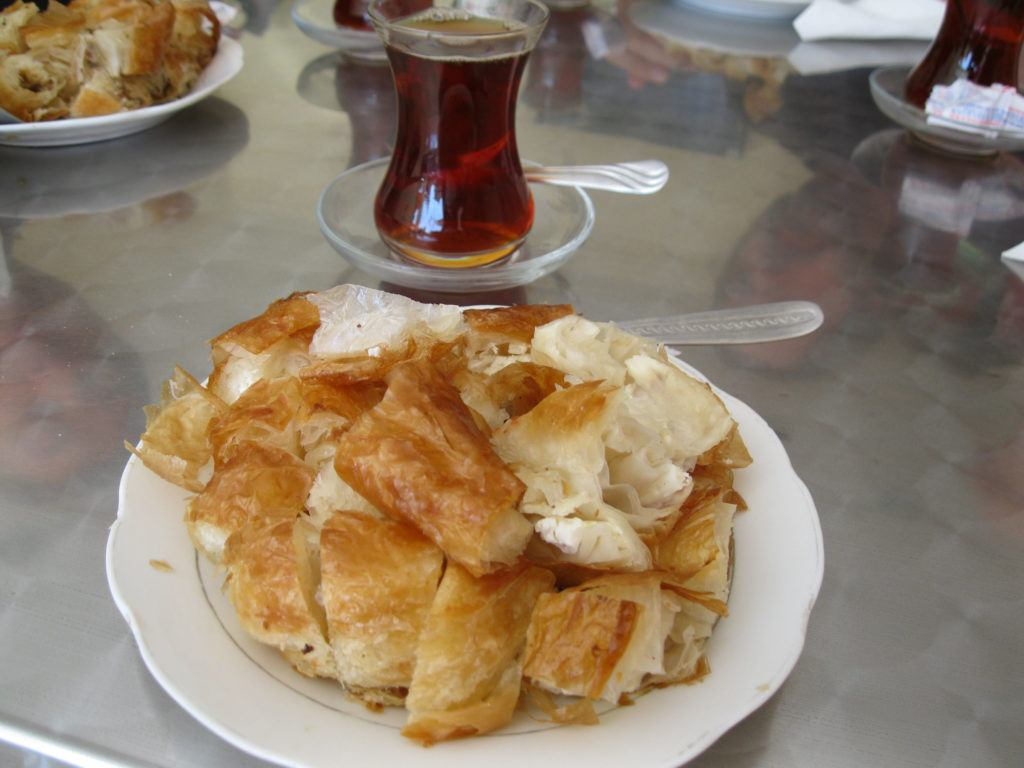 Traditional Turkish borek is served as breakfast or a snack anytime.