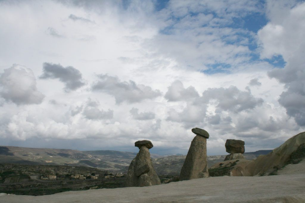 Clouds hover over the fairy chimneys on a blustery spring day in Cappadocia.