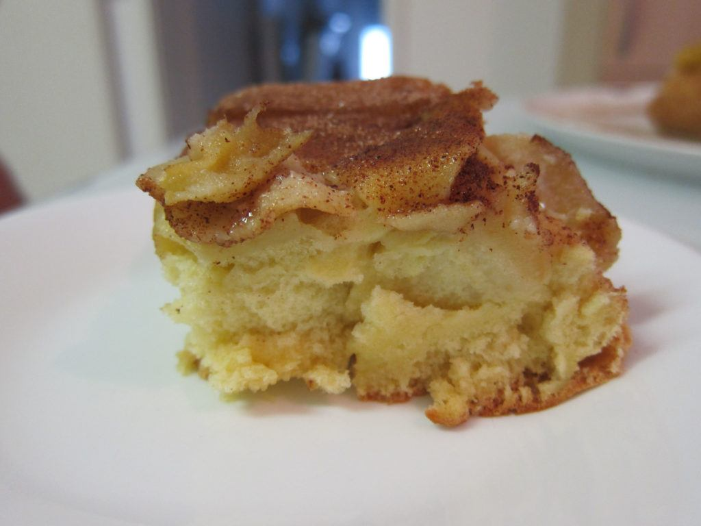 A slice of cinnamon-y apple cake from Lithuania.