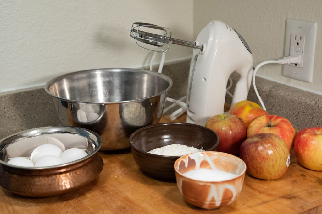 Lithuanian recipes - apple cake ingredients.