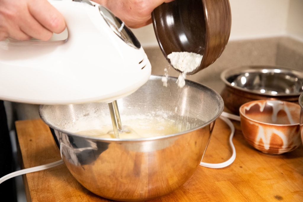 Lithuanian cake recipe - adding the flour after the eggs are completely beaten.