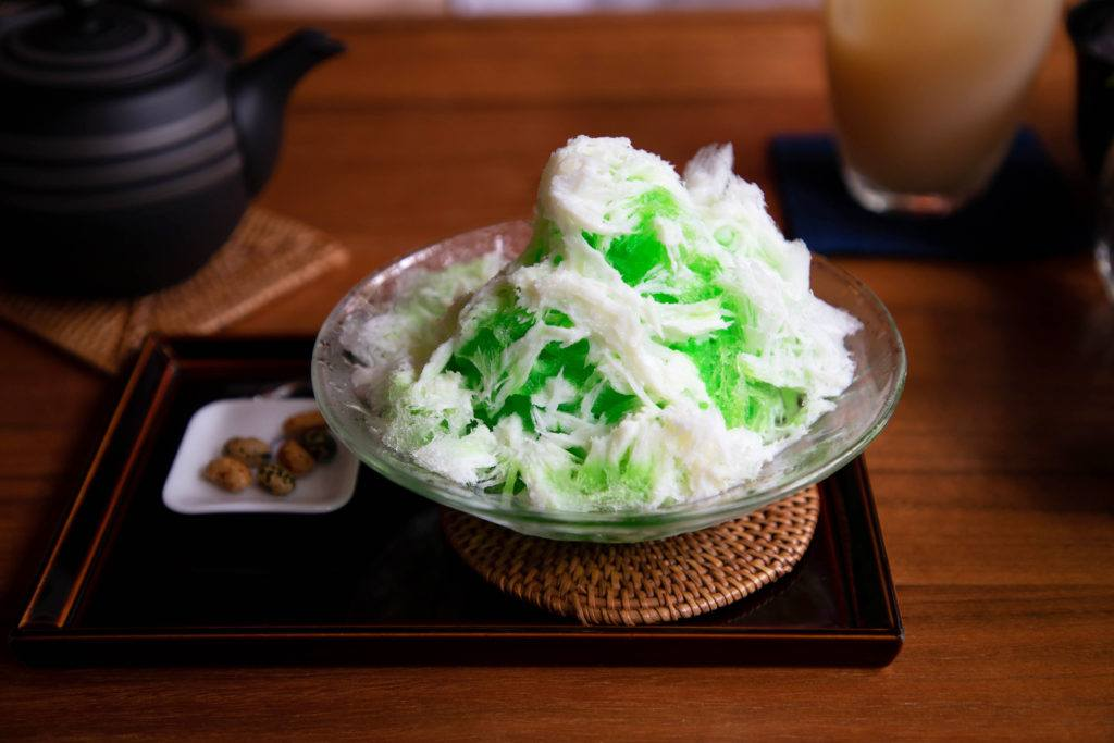 A cool refreshment, melon shaved ice.