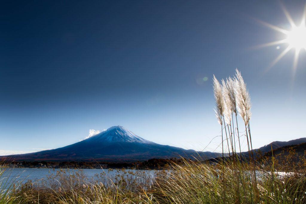 Mt. Fuji across the Kawaguchi lake.