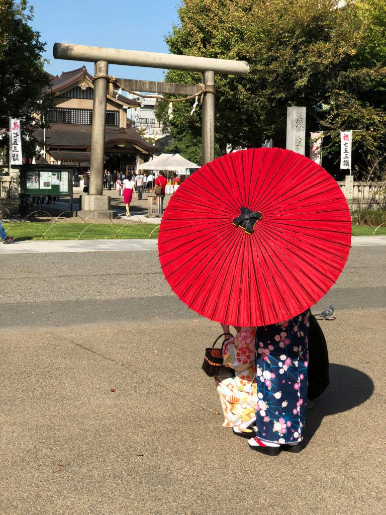 Sun parasols are commonly seen all over Japan.