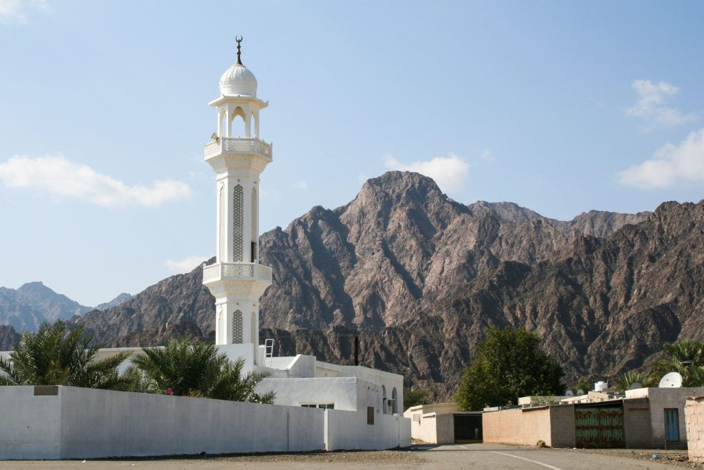 A beautiful mosque in Oman that we passed on our driving tour through the UAE.
