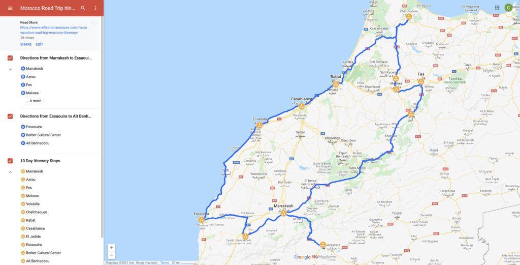 Map of Morocco 2 week road trip.