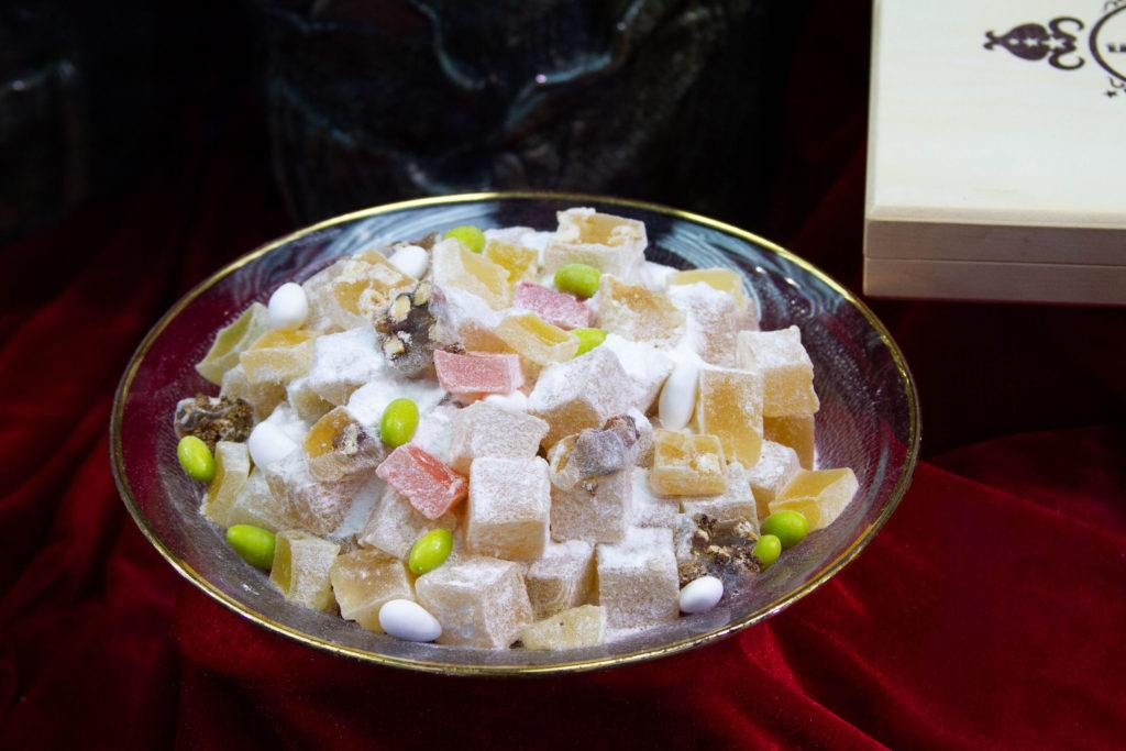 A dish of Turkish Delight (candies) in assorted flavors.