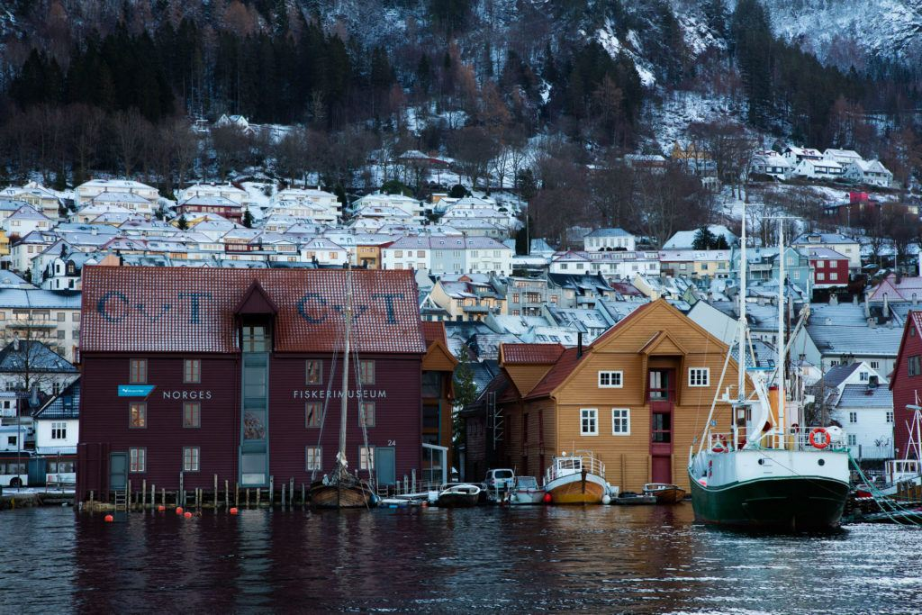 The back side of the fishing museum of Bergen.