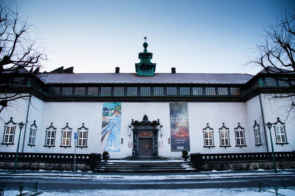Entrance to the Kode Art Museum. It's snowy outside but warm inside; perfect for visiting Bergen in winter.