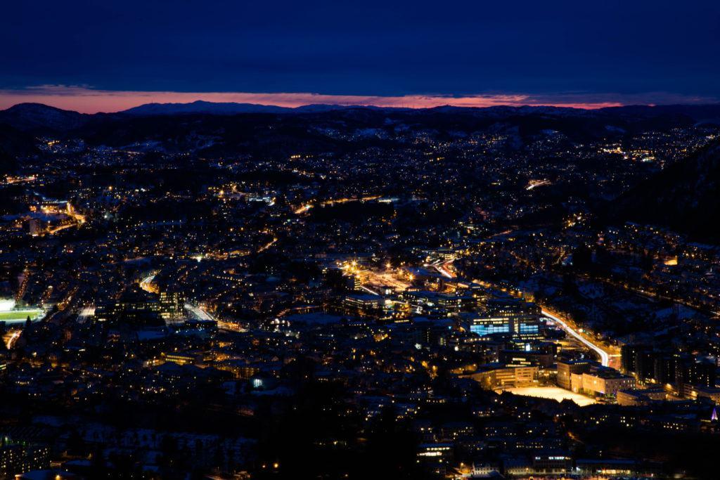 Overlooking Bergen at sunset from Mount Floyen.