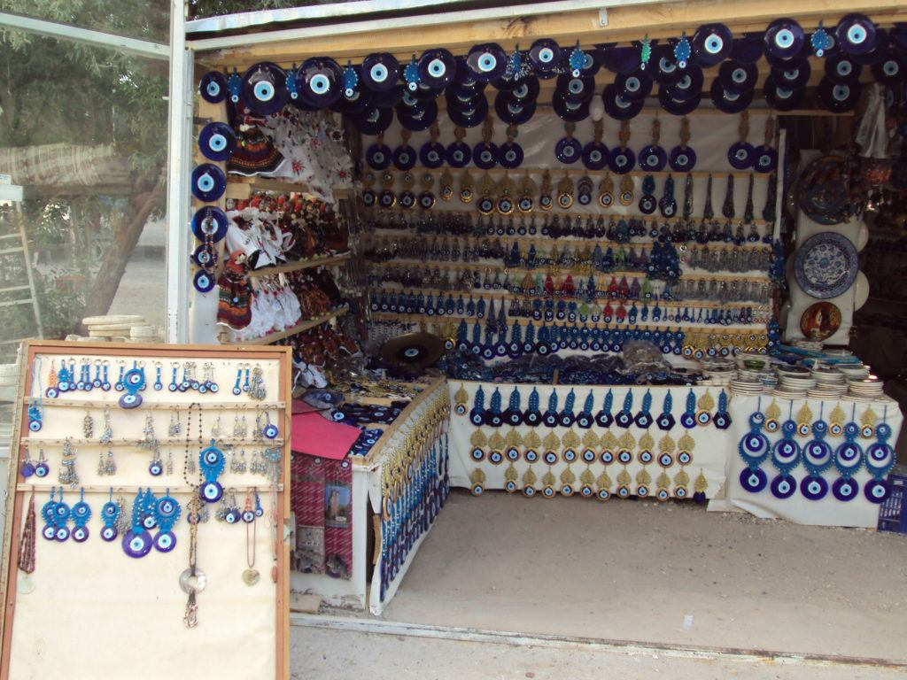 A shop with Turkish evil eye decorations and jewelry for sale.