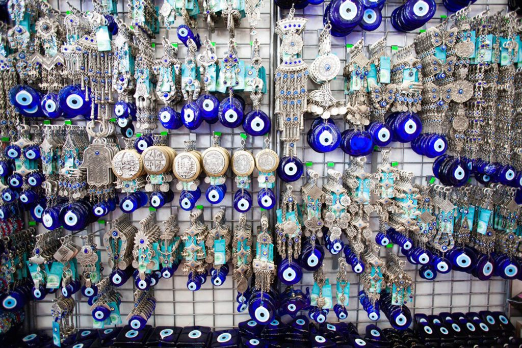 Evil eyes with intricate silver hangers make perfect Turkish Souvenirs.