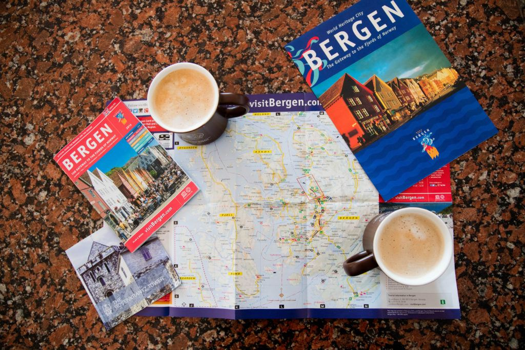 Coffee and map of Bergen, Norway to continually plan and adjust all the things we want to do in the city.